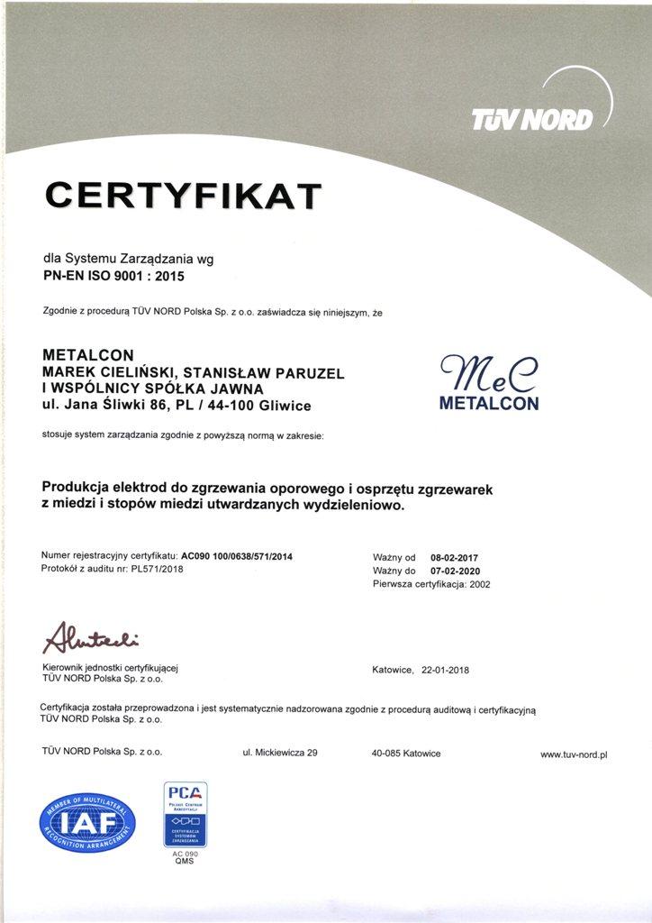 Certyfikat ISO PL