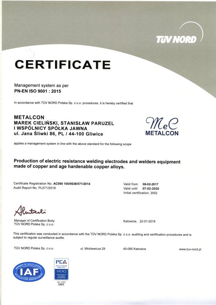 Certyfikat ISO EN
